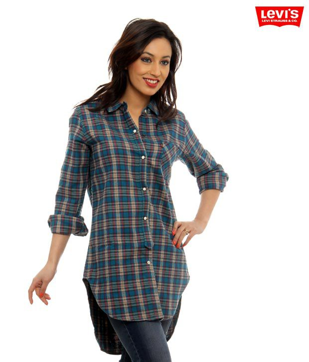 Levi's Blue-Green Checkered Tunic Top