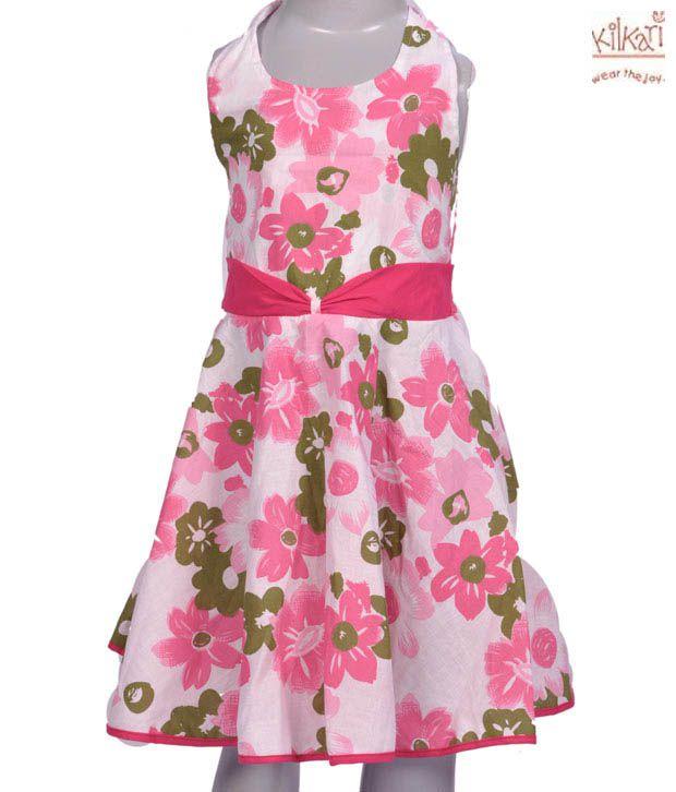 Kilkari Pretty Pink & White Halter Frock