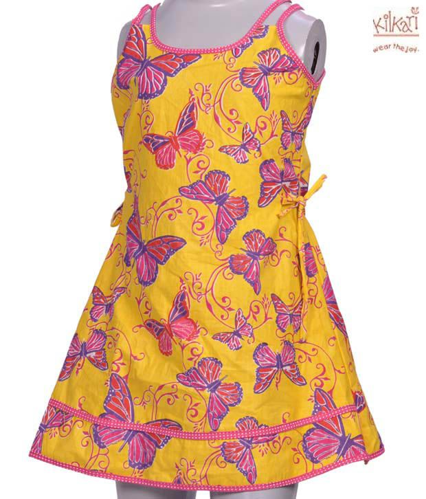 Kilkari Yellow Butterfly Design Frock