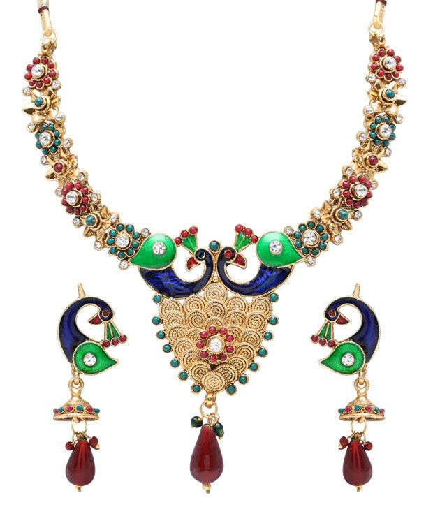 Asian Pearls & Jewels Swanky Peacock Necklace Set