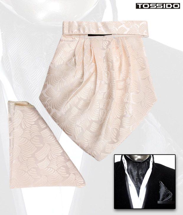 Tossido Beige Cravat & Square Pocket Set