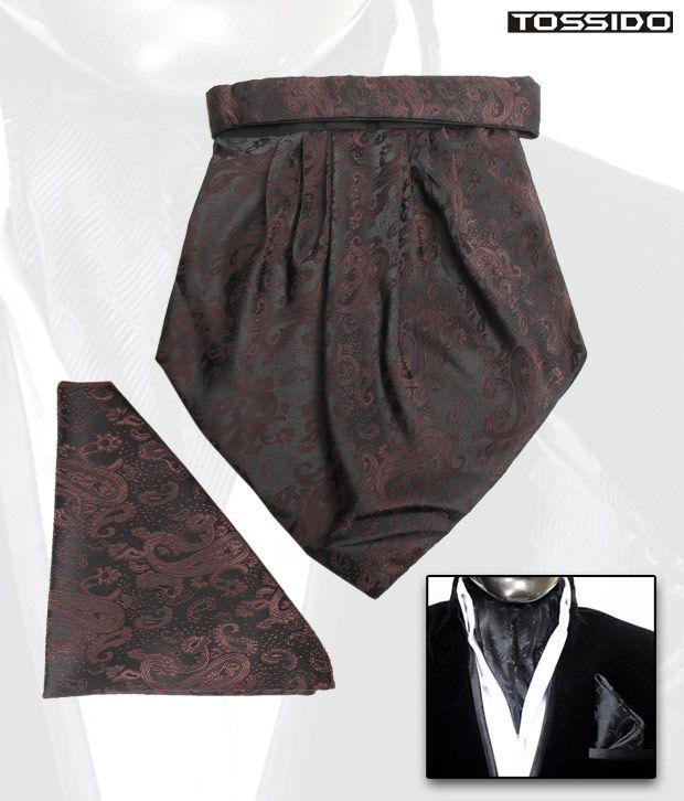 Tossido Brown Cravat & Square Pocket Set