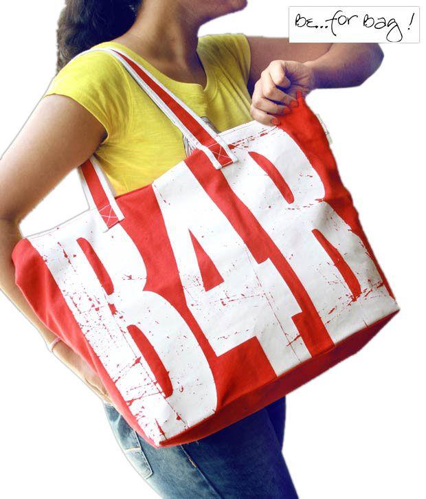 B4Bag Hot Red & White Tote Bag