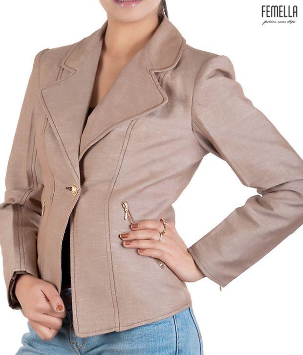 Femella Trendy Beige-Brown Jacket