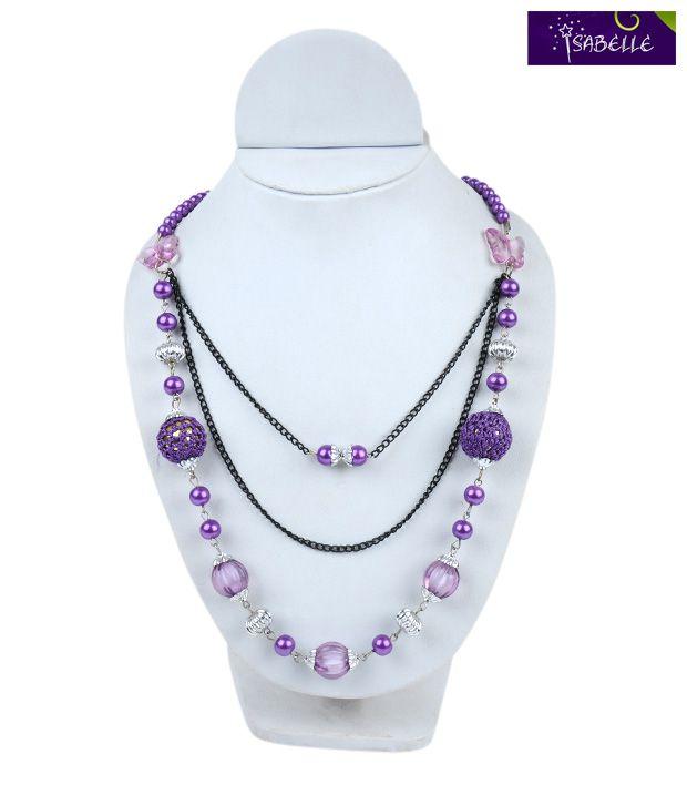 Isabelle Purple Beads & Silver Neckpiece For Kids