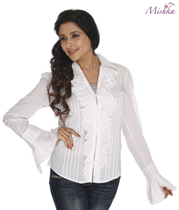863fb1b53aa063 Mishka White Cotton Long Sleeve Ruffle Top - Buy Mishka White Cotton Long  Sleeve Ruffle Top Online at Best Prices in India on Snapdeal