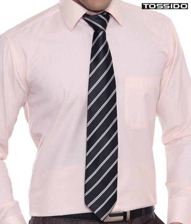Tossido Striped Black & White Tie