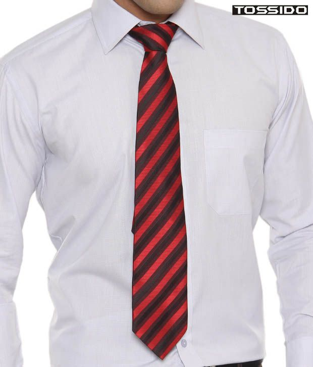 Tossido Exclusive Red & Black Striped Tie