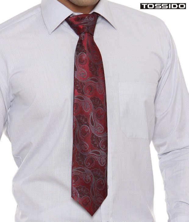 Tossido Red Paisley Print Tie