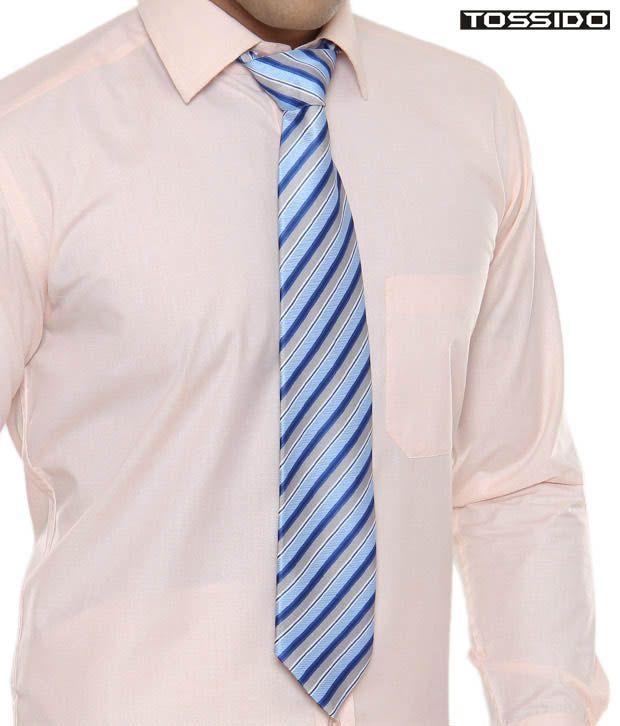 Tossido Blue & Grey Striped Tie