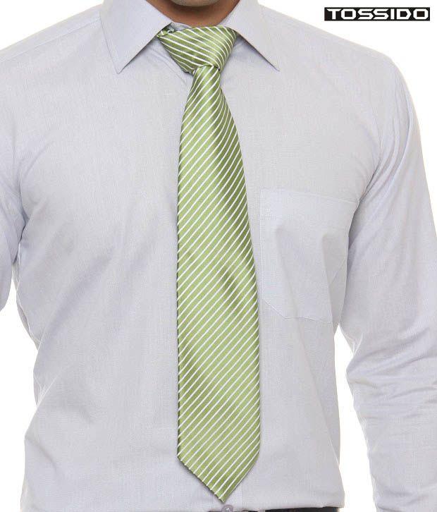 Tossido Exquisite Green & White Striped Tie