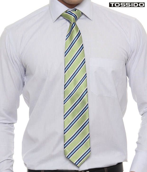 Tossido Exclusive Green Striped Tie