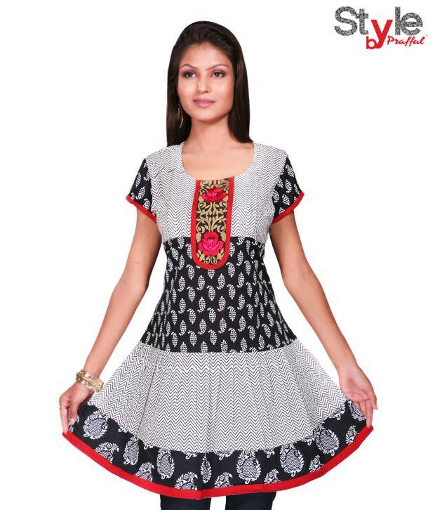 Style by Prafful Funky Black-White Cotton Kurti