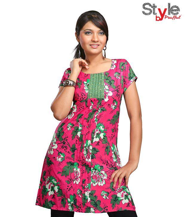 Style by Prafful Floral Fuchsia Pink-Green Cotton Kurti