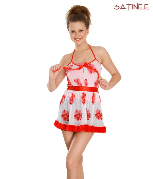 Satinee White & Red Net-Satin Baby Doll Dresses Pack of 2