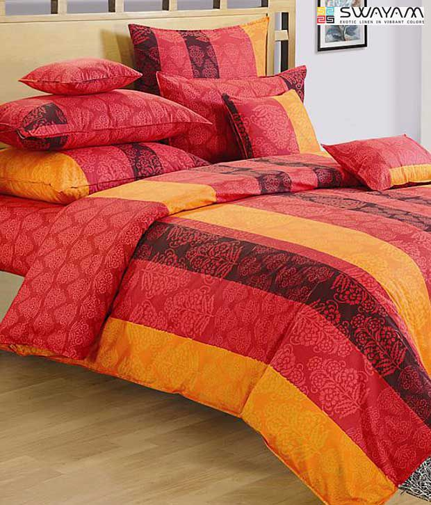 Swayam Orange & Red Floral Print Large Bed Sheet Set