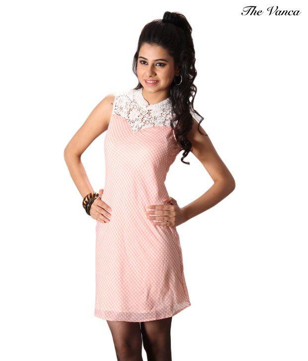The Vanca Pink Cotton Dresses