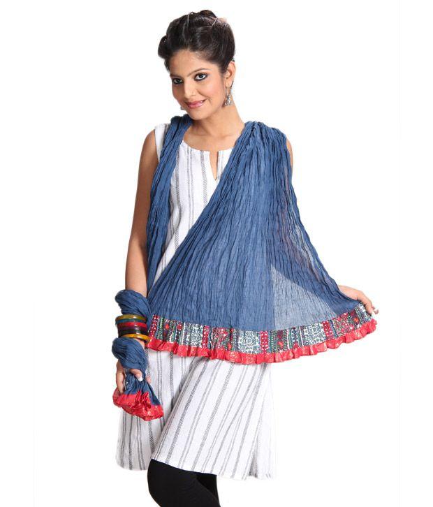Abhiyuthan Blue Crinkle Cotton Dupatta