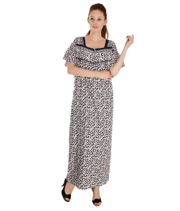 Plums And Peaches Grey White Cotton Nighty