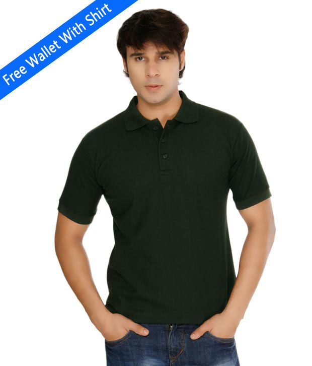 Weardo Plain Green Polo Tee With Freebie Wallet