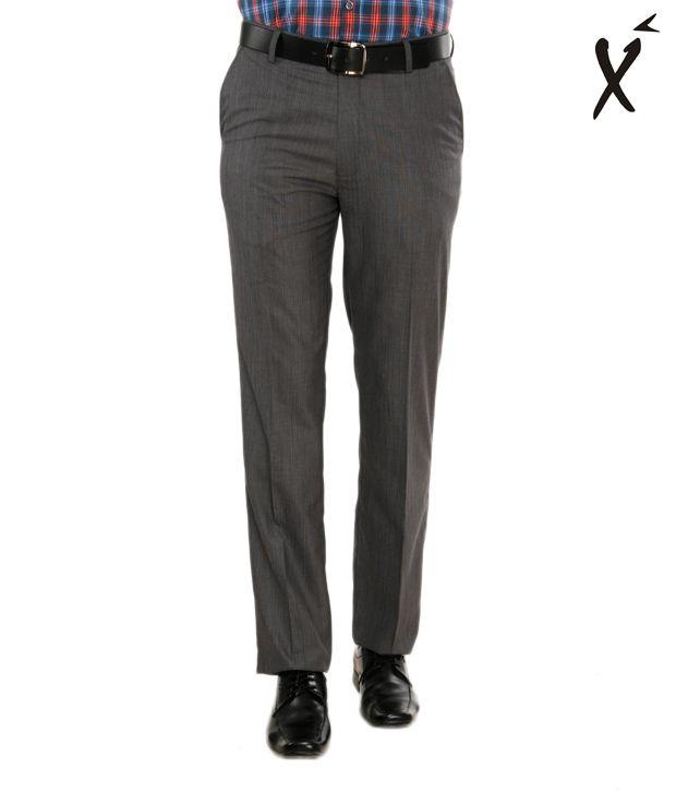 Xenia Dark Grey Striped Trouser