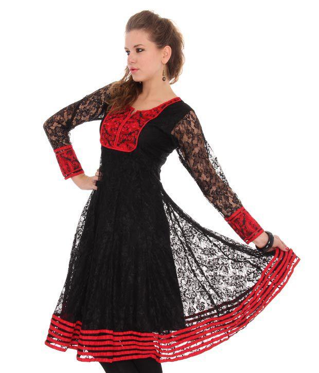 Neels Black-Red Net Embroidered Anarkali Kurti