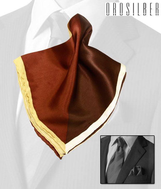 Orosilber Shades Of Brown Elegant Silk Pocket Square