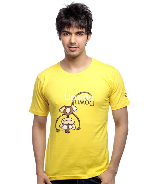 Inkfested Men's Upside Down Yellow T-shirt