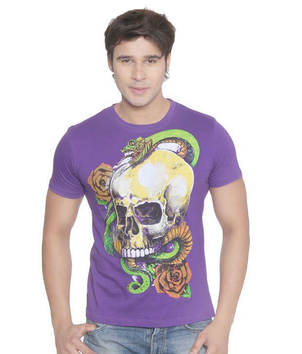Vvoguish Purple Snake n Skull T-Shirt