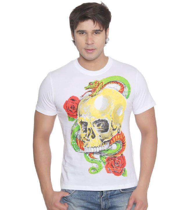 Vvoguish White Snake n Skull T-Shirt