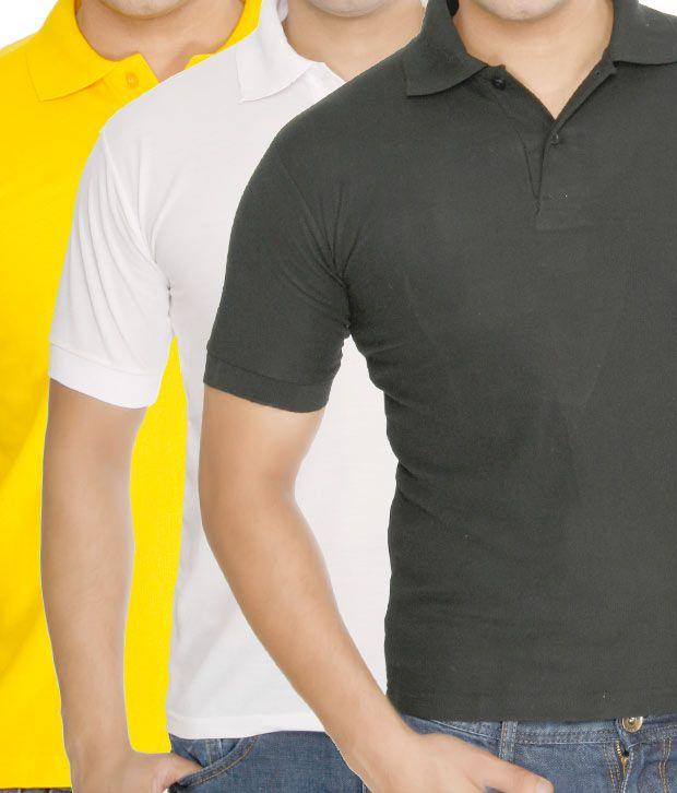 Weardo Black-Yellow-White Pack Of 3 Polo T-Shirts