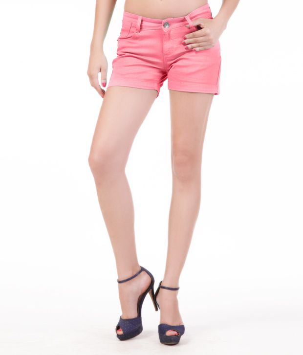 Yepme Trendy Coral Pink Cotton Hot Shorts