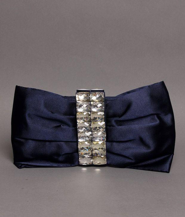 Bolso Navy Blue Stone Bead Clutch