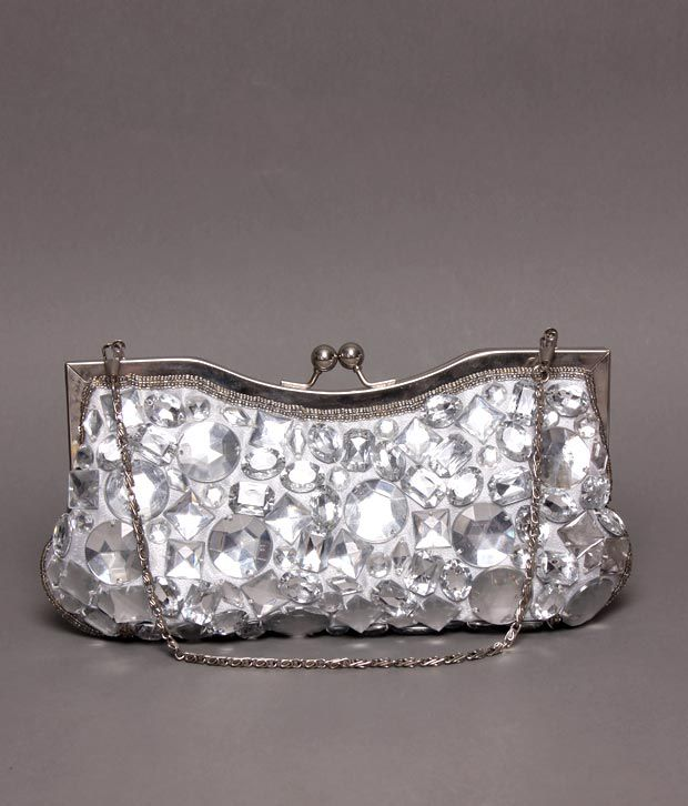 Bolso Silver Stone Embellished Clutch