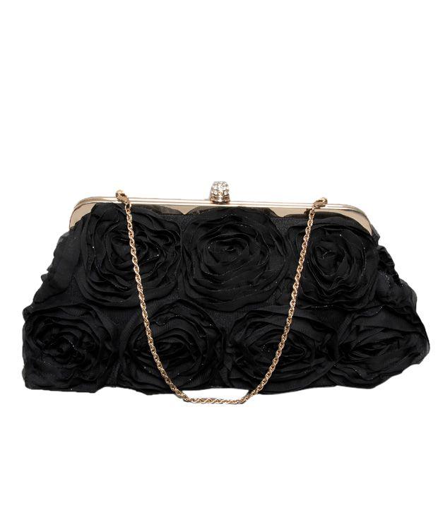 Bolso Charming Black Rose Corsage Clutch