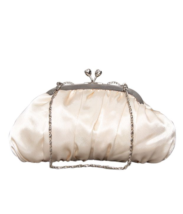 Bolso Glossy Off-white Pleated Clutch