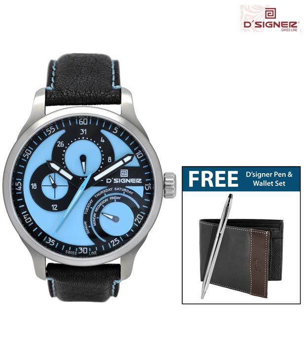 D'signer Blue Dial Watch With Free Pen & Wallet