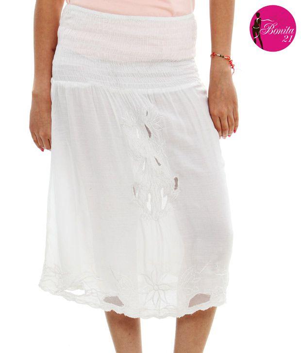 TeeMoods 21 White Cotton Skirts