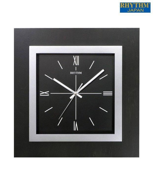 Rhythm Square Black Wall Clock Buy Rhythm Square Black