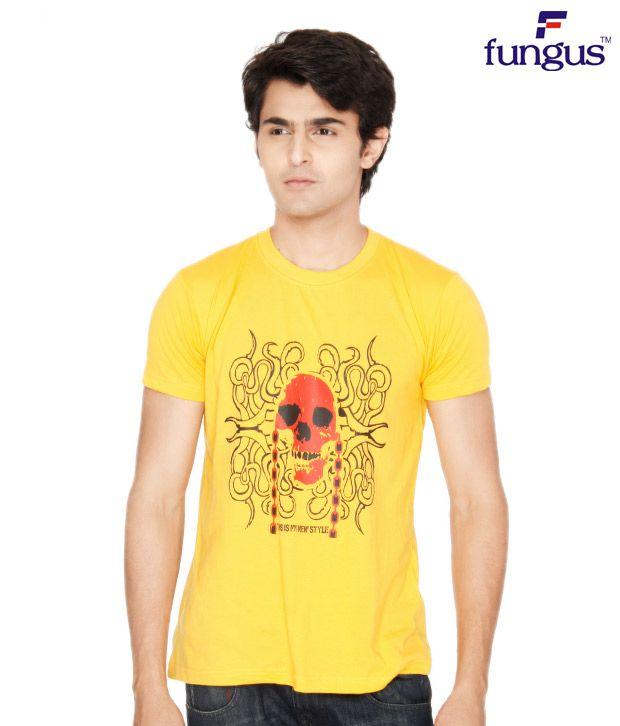 Fungus Yellow Abstract  Cotton T-Shirt