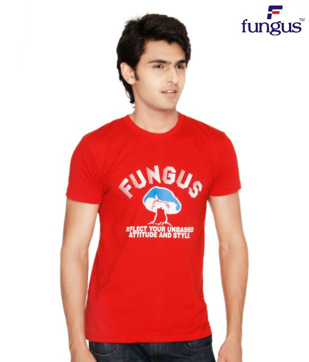 Fungus Red Calligraphic  Cotton T-Shirt