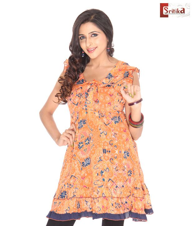 Sritika Orange Cotton Printed Kurti