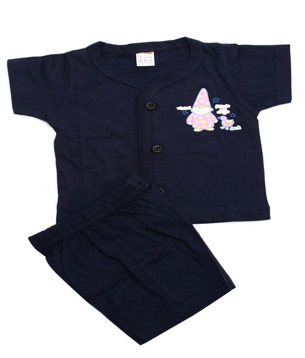 Beau Monde Navy Blue Cotton Suit