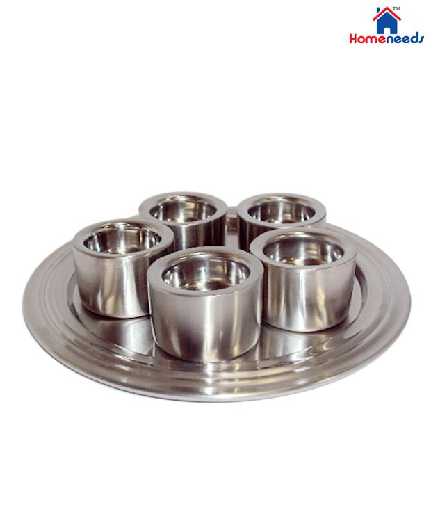 Home Needs home needs stainless steel t-light thali: buy home needs stainless