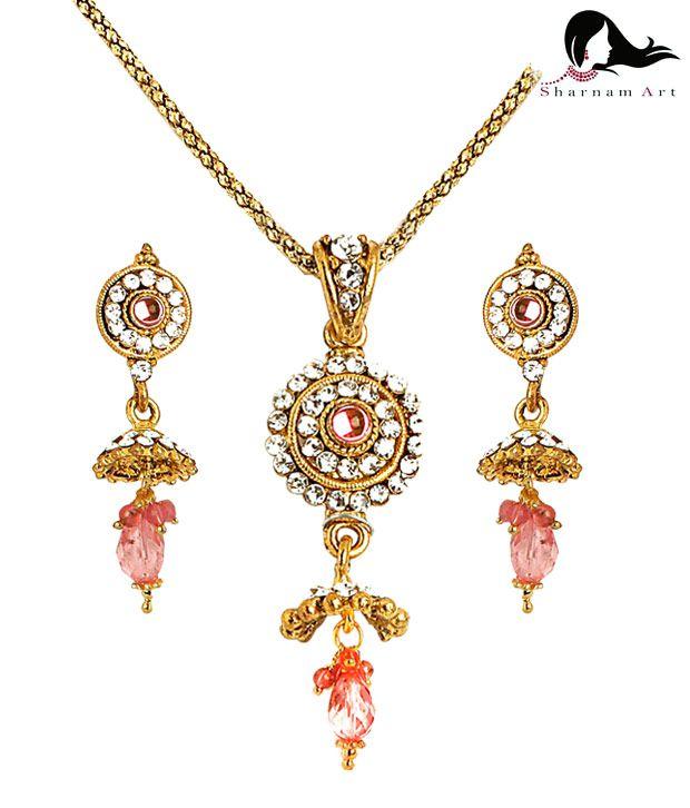 Sharnam Arts Festive Peach Drop Golden Necklace