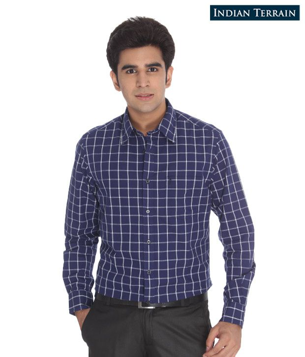 Indian Terrain Navy Blue Checkered Shirt