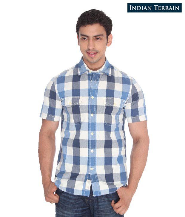 Indian Terrain Blue-White Checkered Shirt