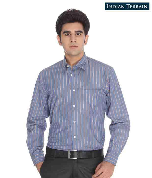 Indian Terrain Blue Striped Shirt