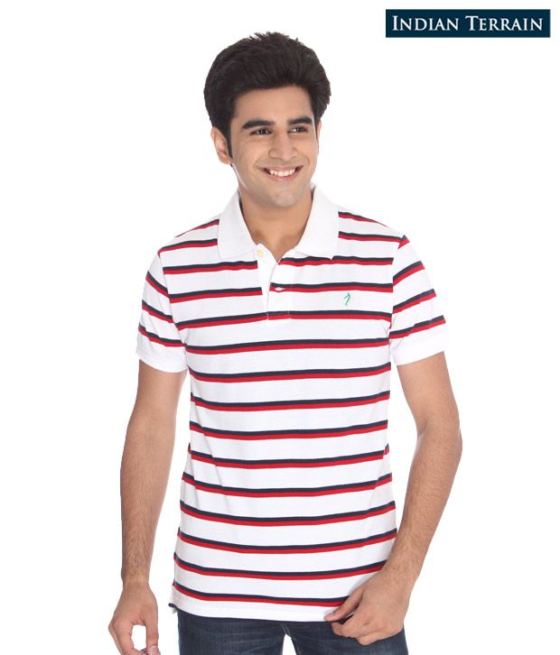 Indian Terrain Red-White T-Shirt
