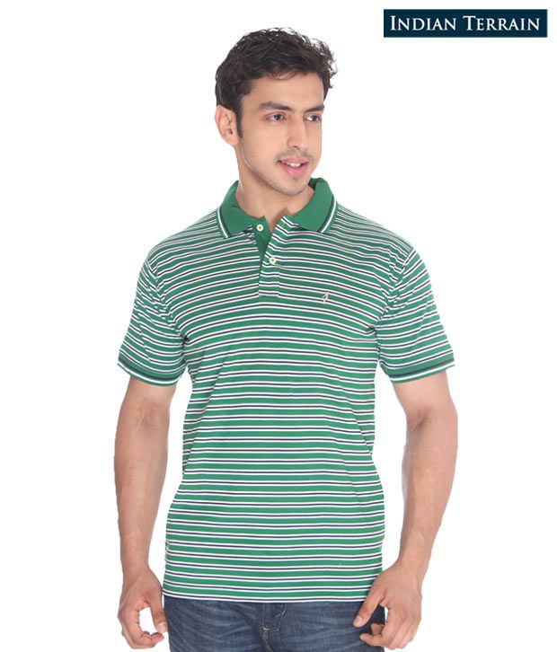 Indian Terrain Green Striped T-Shirt
